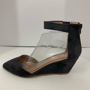 JGoods Pointed Ankle Strap Wedge Heels